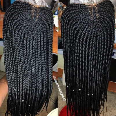 Half cornrows box braids wig