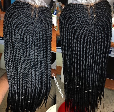 Half cornrows box braids wig