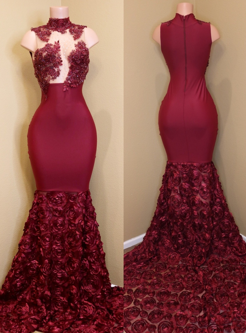 Sparkly Long Mermaid Prom Dresses Burgundy Lace Evening Gowns H01461 ...