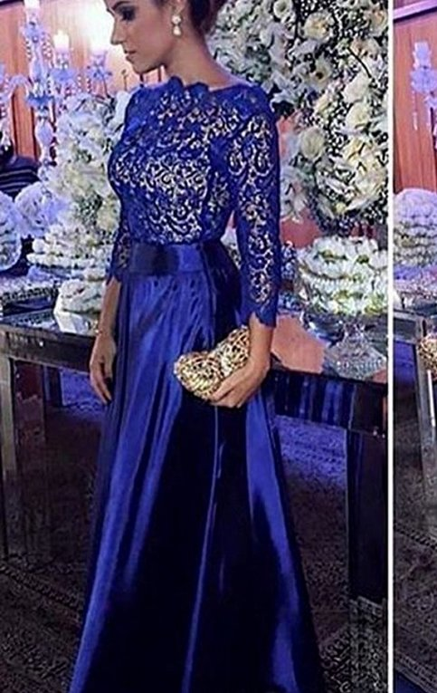 3 4 Sleeves Lace Taffeta Long Prom Dress Royal Blue Formal