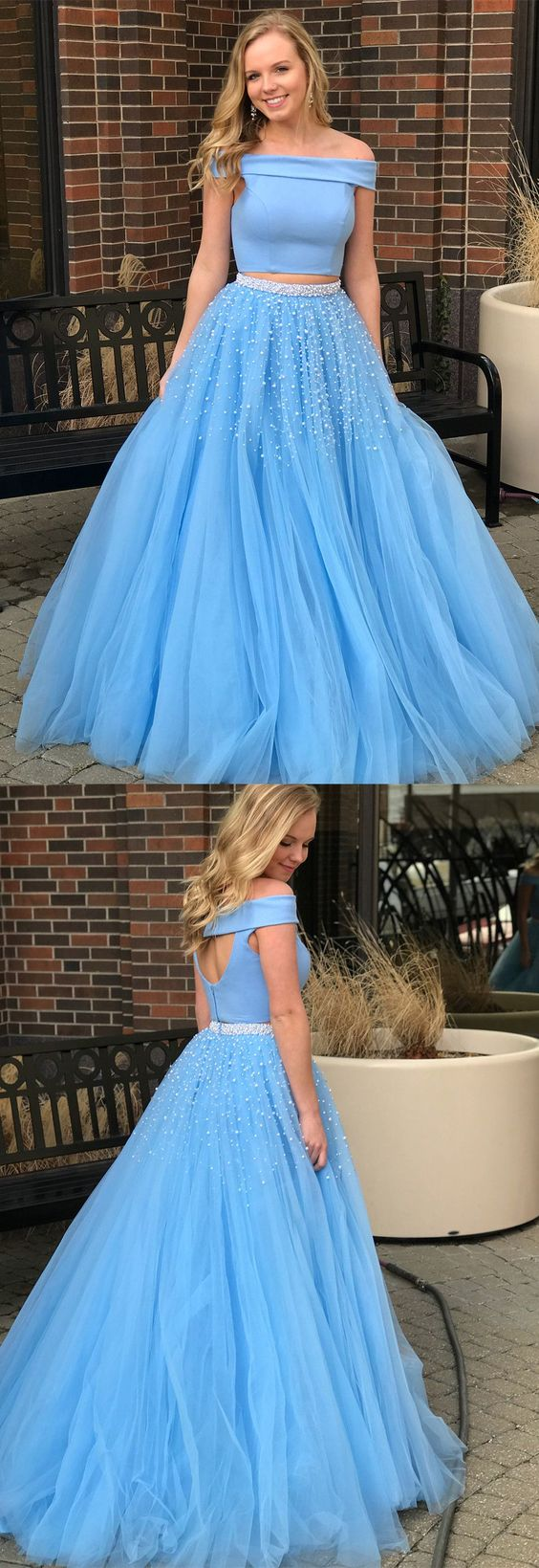 2018 two piece long prom dress, off the shoulder blue long prom ...