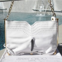 "100 % AUTH JIMMY CHOO White Chain Strap ""Anna"" Bag"