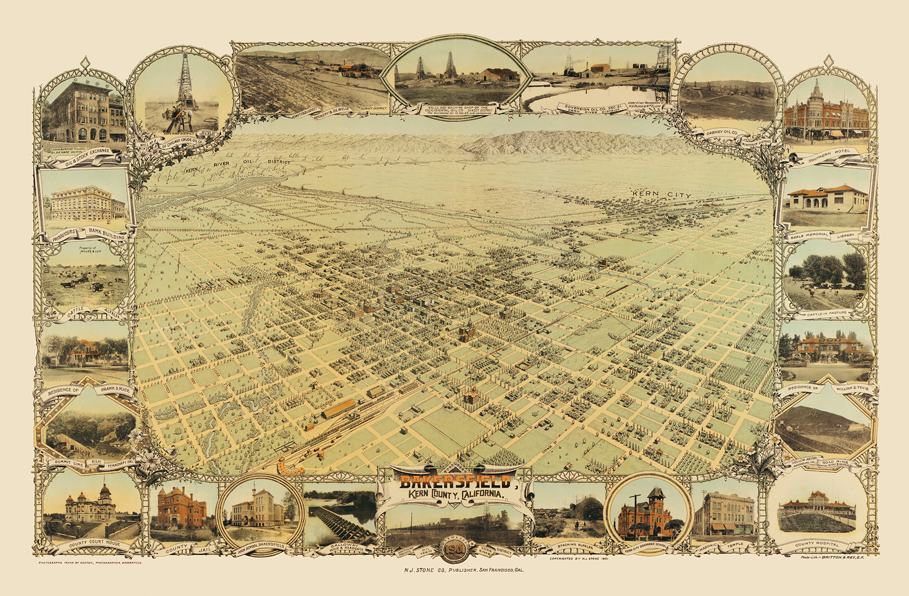 Bakersfield, California in 1901 - Bird\'s Eye View, Map, Aerial ...