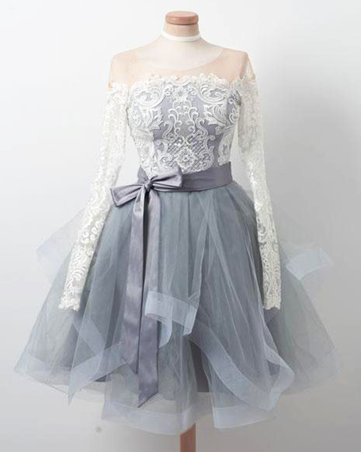 Gray tulle short ruffles prom dress with long sleeves, short lace ...