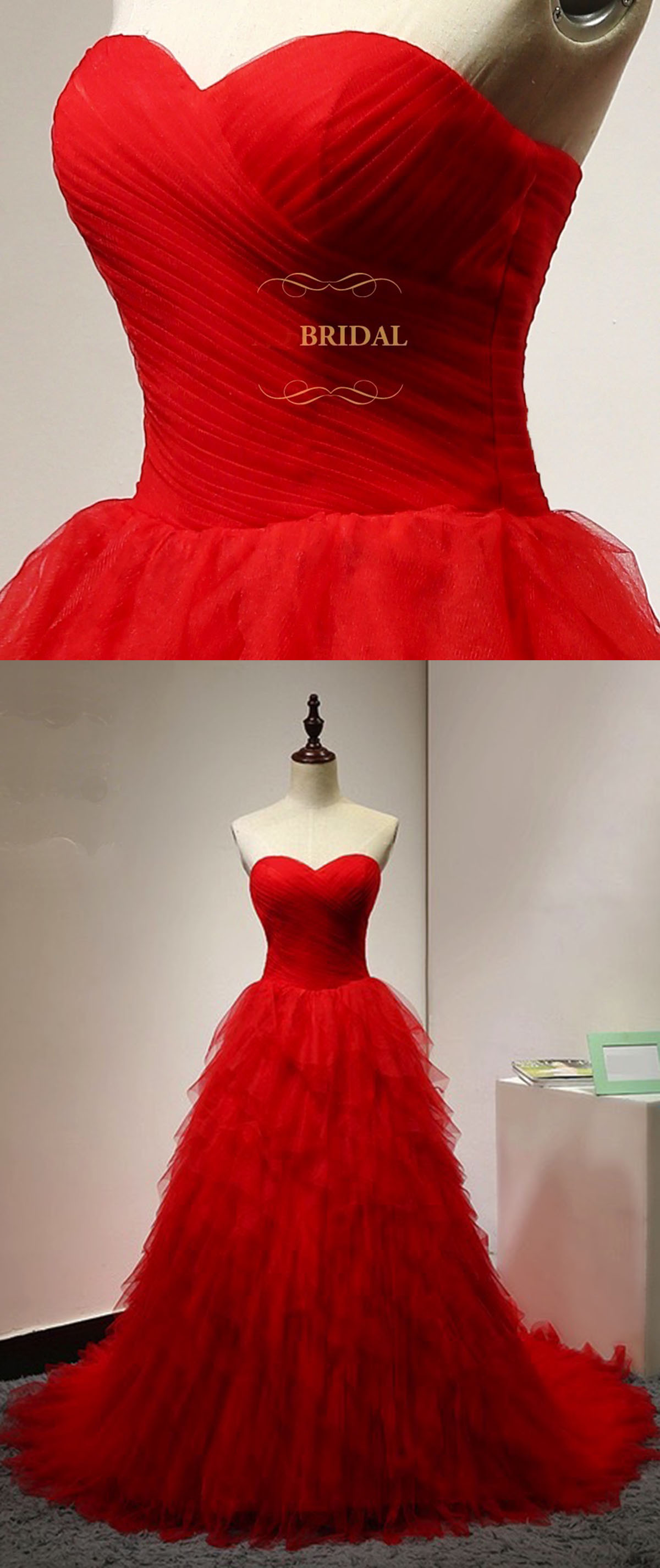 Sweetheart neck red tulle ruffles long strapless evening dress, red ...