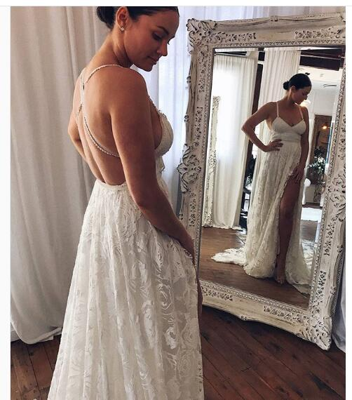 2018 Lace Boho Wedding Dress, Beach Wedding Dress, Halter Lace ...