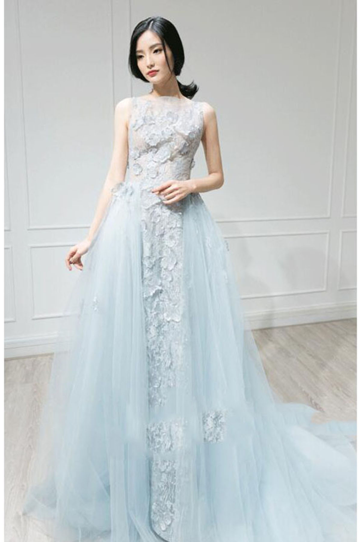 Cheap Prom Dresses by SweetheartDress · Sky blue tulle long train ...