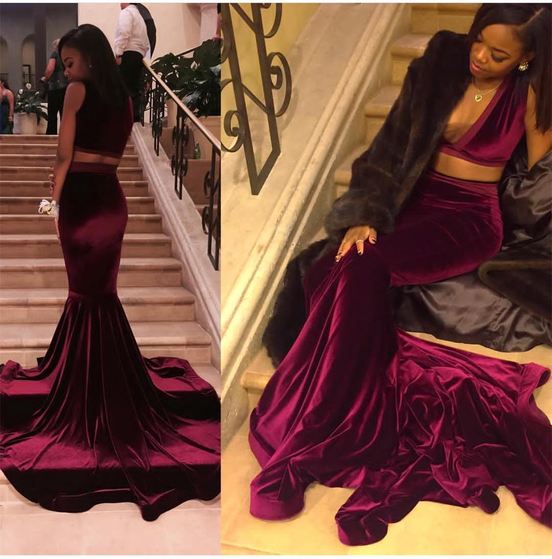 2018 Black Girl Prom Dress, Two Pieces Velvet Prom Dress, evening ...