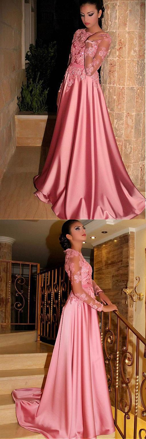Gorgeous Satin Jewel A-Line Long Sleeves Pink Prom Dresses With Lace ...