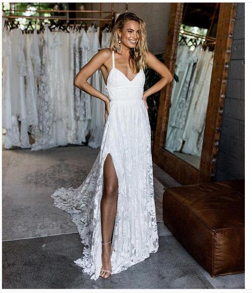 2018 Beach Wedding Dress, Lace Boho Wedding Dress, Halter Backless ...