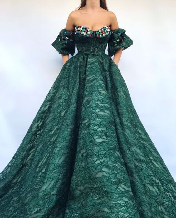 Ball Gown Graduation Dresses,off the shoulder lace hunter green ...