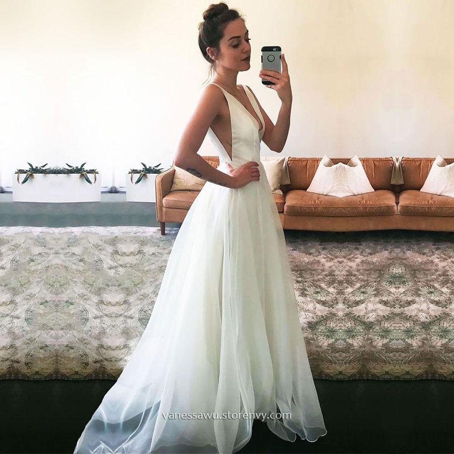 Cheap Prom Dresses,A-line V-neck Long Formal Evening Dresses ...