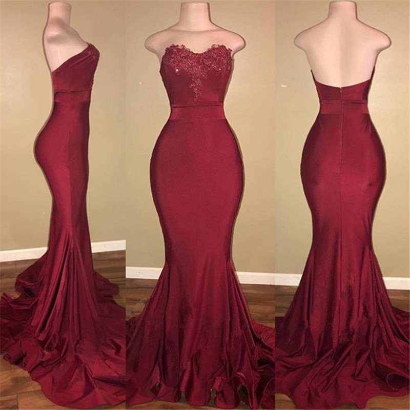 Strapless Burgundy Prom Dresses | Long Mermaid Evening Gowns ...