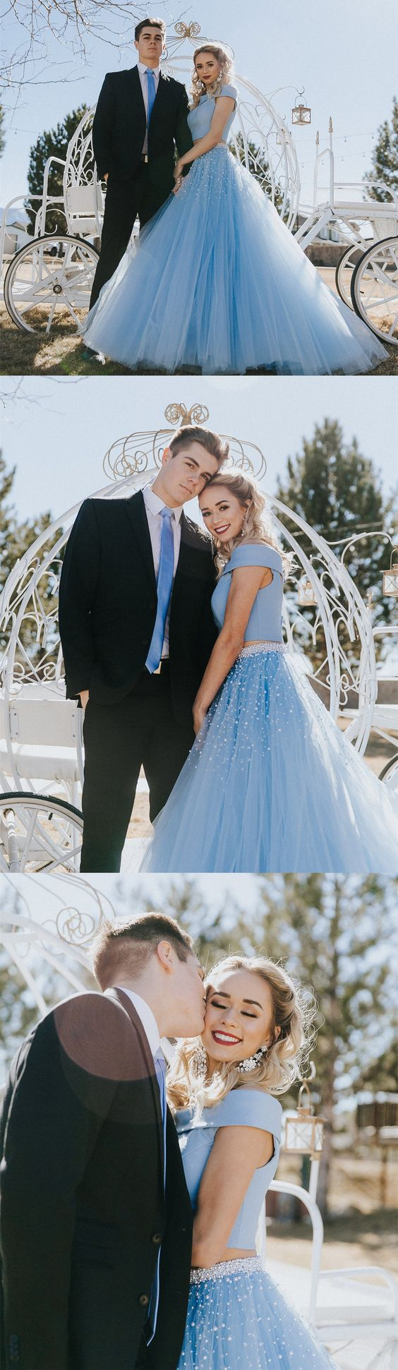 two piece prom dress,blue long prom dress,beading party dress,tulle ...