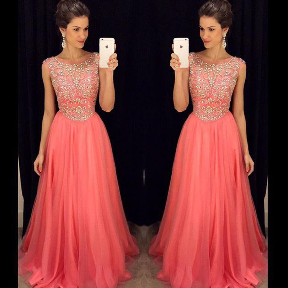 Luxury Evening Dress Floor Length A Line Chiffon Crystal Long ...