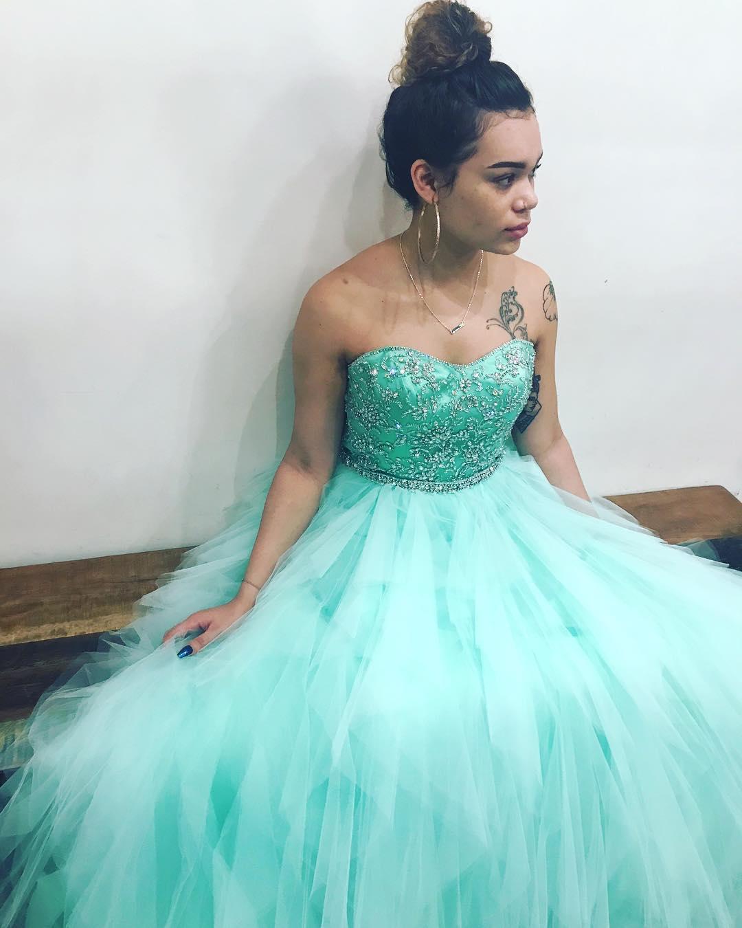Beaded Sweetheart Mint Green Long Ball Gown · dreamdressy · Online ...