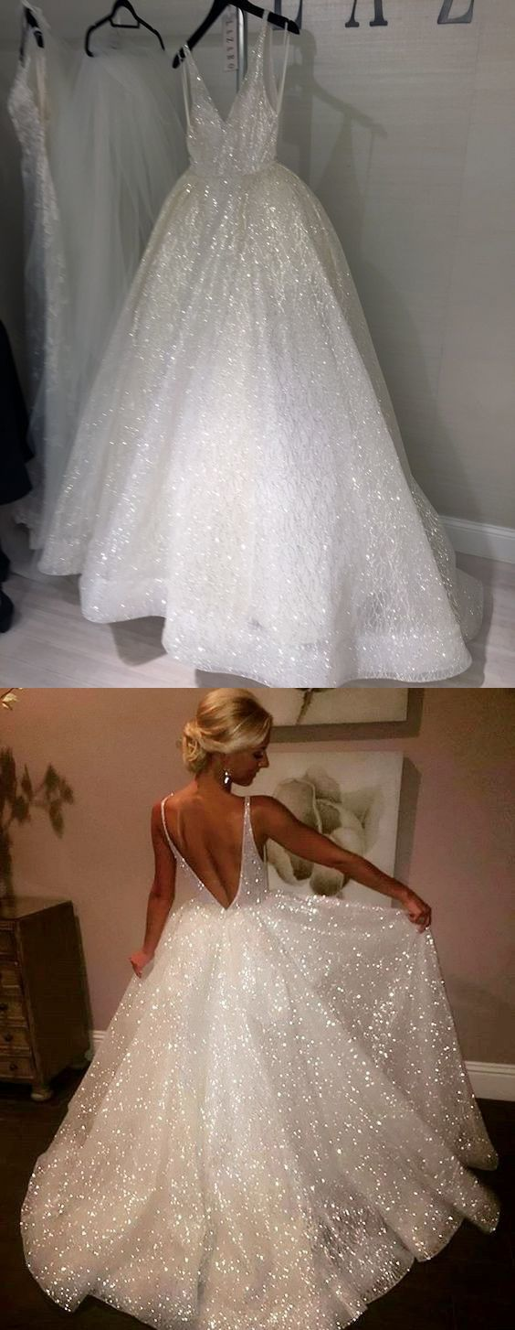 Ball Gown V-Neck Sleeveless Backless Sweep Train Wedding Dress with ...