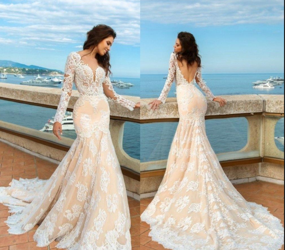 Champagne Wedding Dress,Long Sleeve Appliques Wedding Dresses,Open ...
