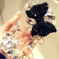 Bling Big Black Bow With Big Rhinestones On Transparent iPhone 4 Case