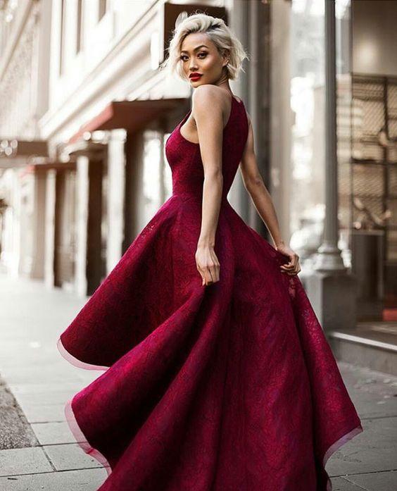 Charming Prom Dresshigh Low Prom Dress Maroon Prom Dressprom