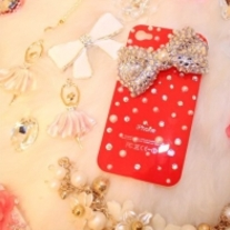 New Bling crystals and Big Silver Butterfly on Red iPhone 4 Case