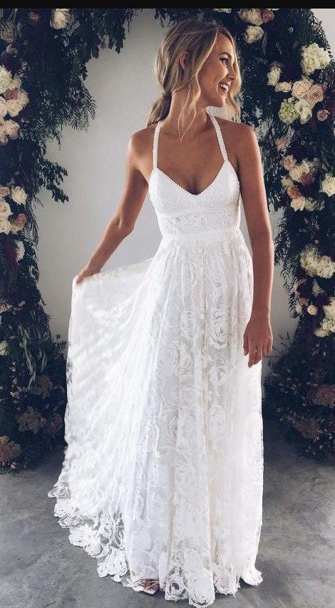 Halter Empire White Lace Prom/Evening Dress,Beach Lace Wedding Dress ...