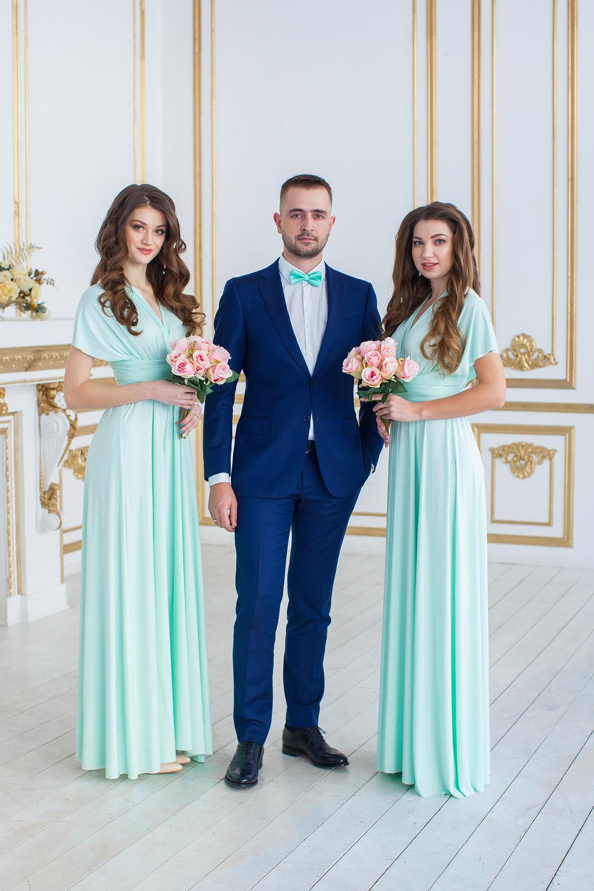 Infinity Bridesmaid Dress, Mint Convertable Dress, Wrap Dress ...