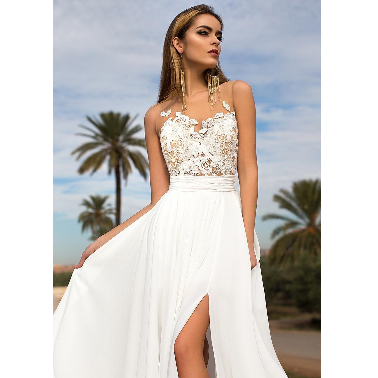 Bohemian Summer Beach Wedding Dress Sheer Jewel Neck Lace Appliques ...