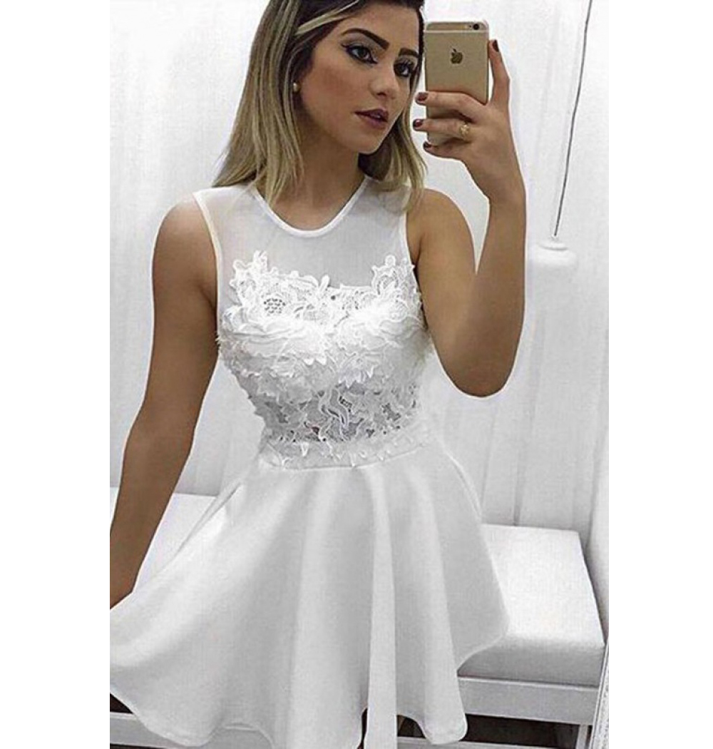 Ivory Homecoming Dress Jewel Neck Lace Appliques Satin Short Prom ...
