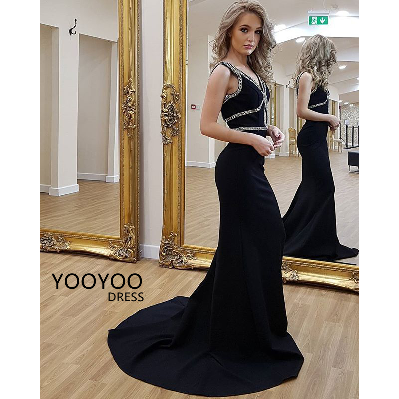 Black Satin Mermaid Party Dresses V-Neck Sequins Long Prom Dress ...
