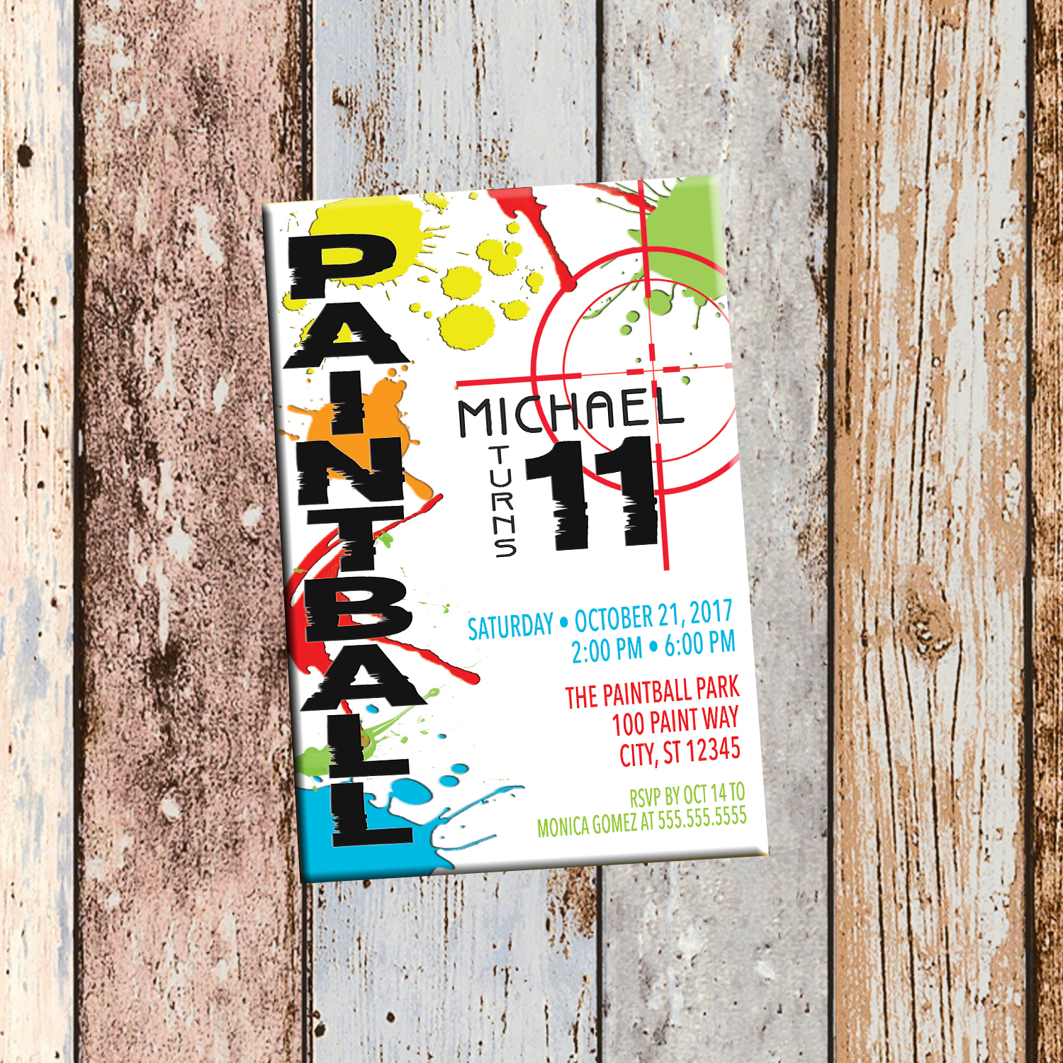 Paintball Personalized Birthday Invitation 1 Sided, Birthday Card ...