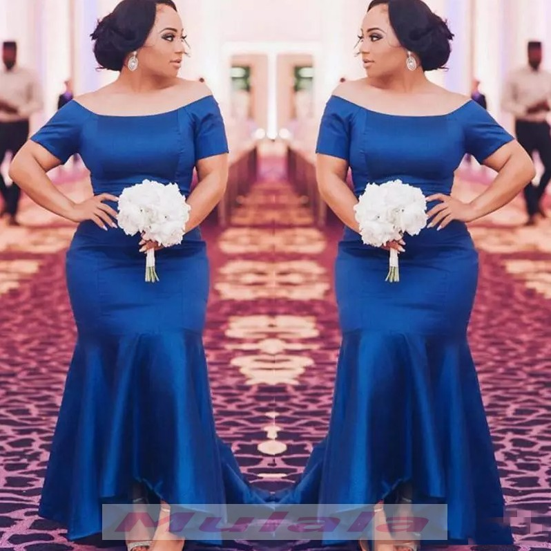 Royal Blue Plus Size Mermaid Evening Dress 2018 Off The Shoulder Long Women  Formal Party Gowns from promyan