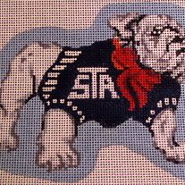 St. Albans School Bulldog Ornament Canvas on 18 mesh