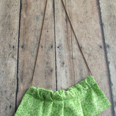 Spring green fabric ruffle necklace