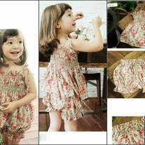 2 Pcs Set Top with Bloomer Shorts in Soft Vintage Flowers