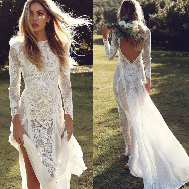 Vintage Lace Mermaid Long Sleeve Wedding Dresses Summer Beach Boho ...