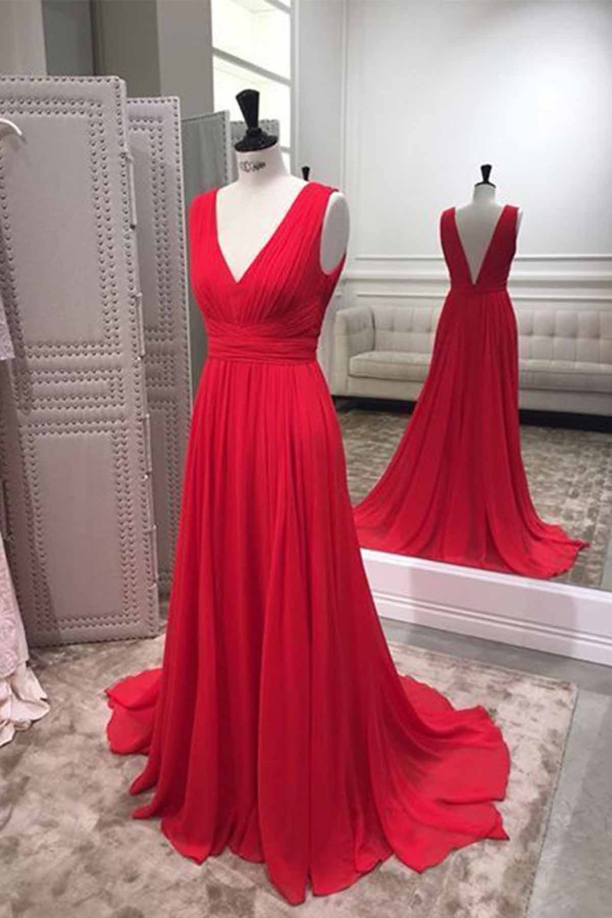 Cheap Prom Dresses by SweetheartDress · Simple red chiffon V neck ...