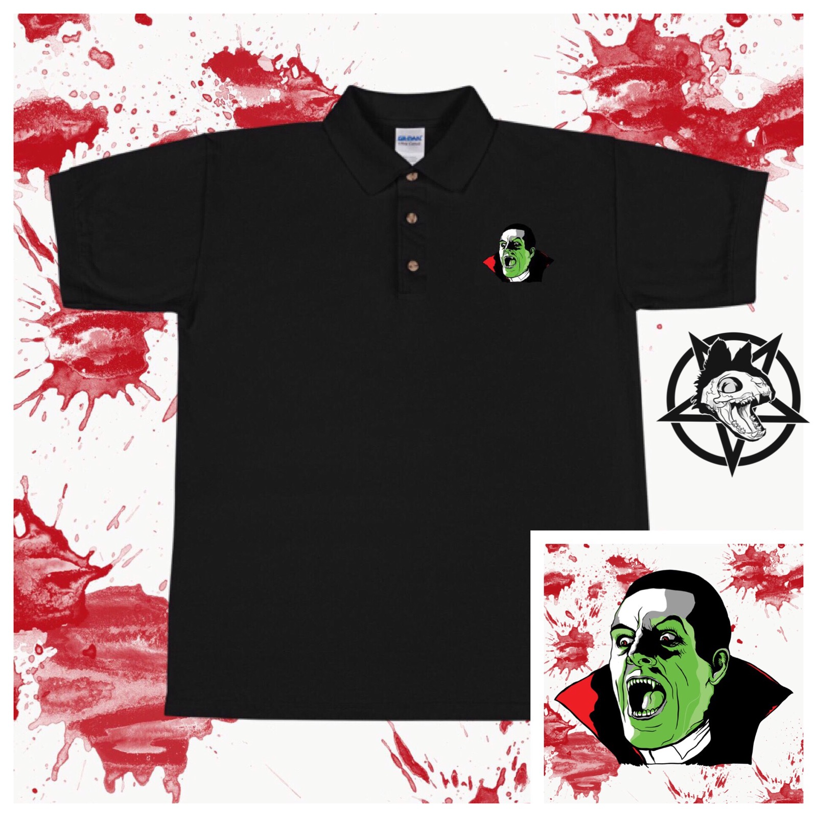 Alucard Embroidered Polo Shirt Death Kat Design Online Store