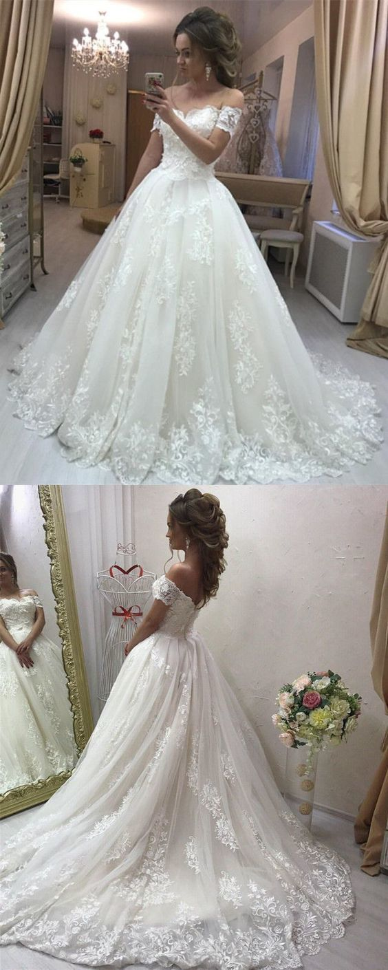 Lace Off Shoulder Tulle Wedding Dresses Princess Dress,Lace Bridal ...