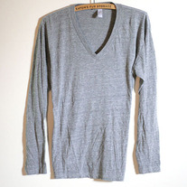 Grey V-Neck Long Sleeve T by American Apparel