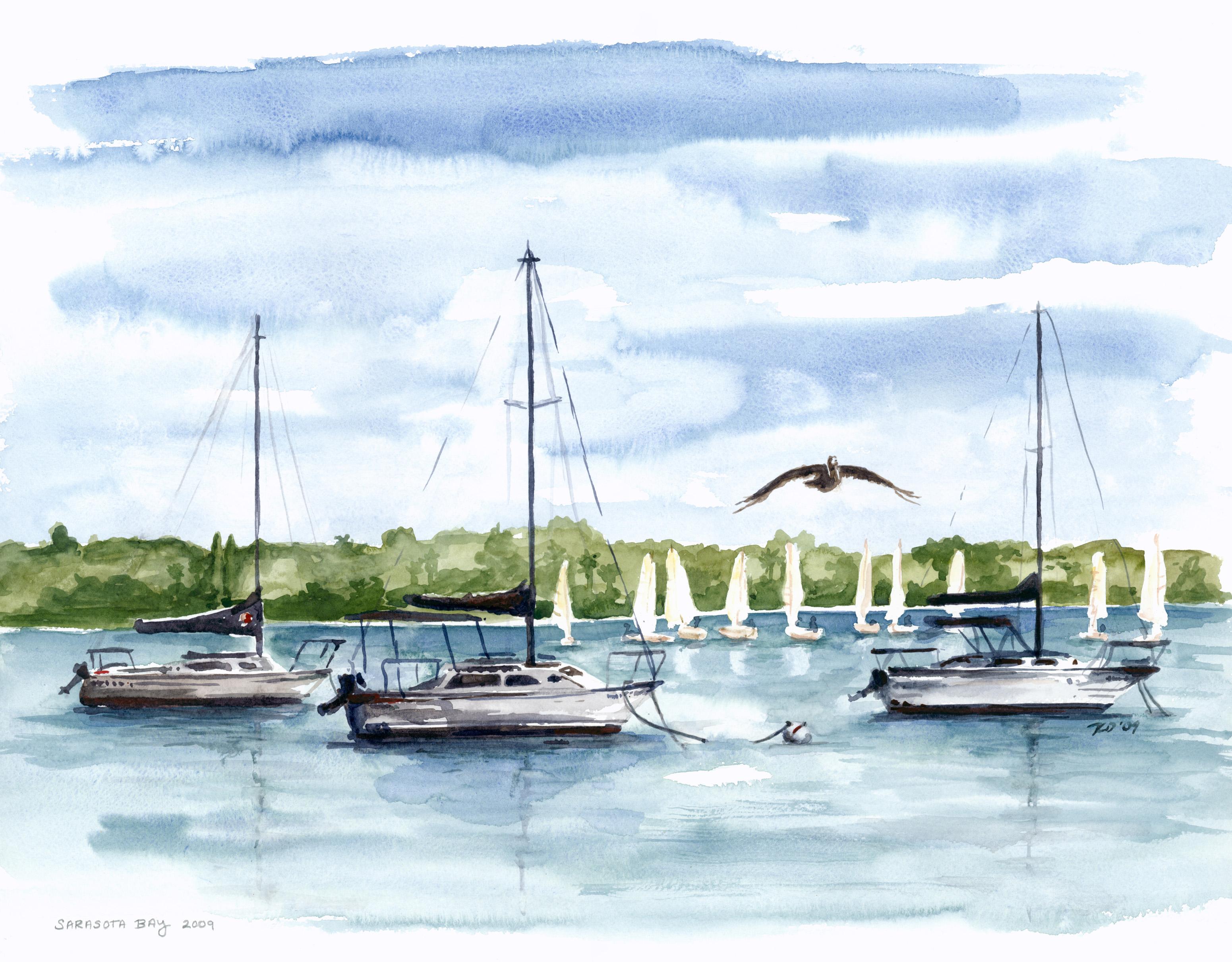 Sailboat trio watercolor print