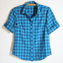 Blue Plaid Short Sleeve Top