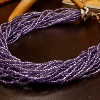 Double Cap Blue Seed Bead Necklace