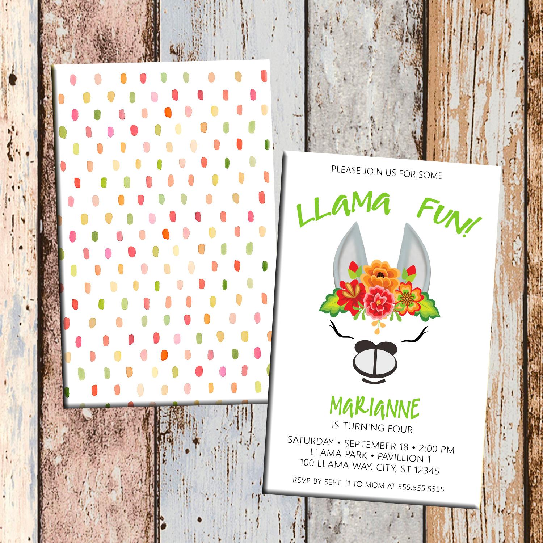 Llama Fun Alpaca Personalized Birthday Invitation 2 Sided Card