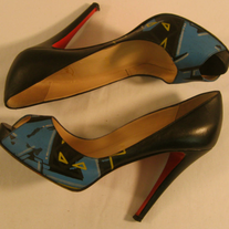 Christian Louboutin Black Blue Graffiti Leather Platform Heel 38 Limited Edition
