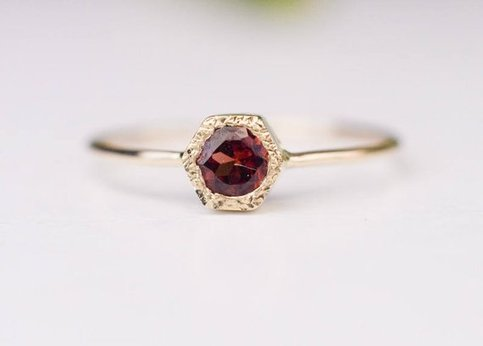 Quality Jewelry 1.50 Carat Garnet White Gold Plated Fashion Ring New Design Handmade Red Ring Engagement Ring  January Birthstone