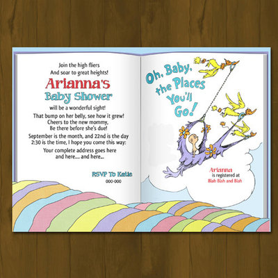 Dr. seuss oh baby, places you'll go baby shower invitation