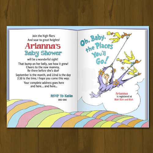 Dr Seuss Oh Baby Places You Ll Go Baby Shower Invitation
