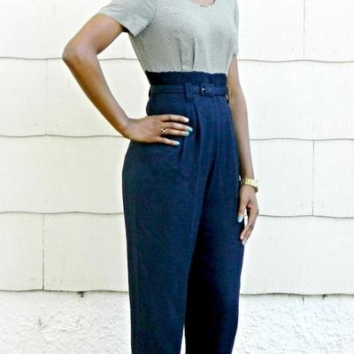 Navy blue and beige striped jumpsuit