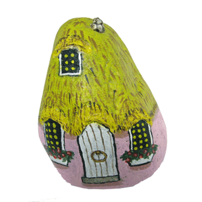 Pink painted rock garden decor gnome home - free usa shipping
